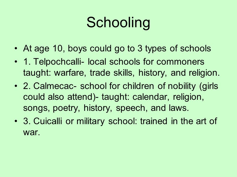 Schooling At age 10, boys could go to 3 types of schools