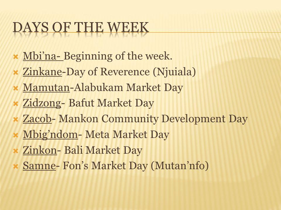Days of The Week Mbi'na- Beginning of the week.