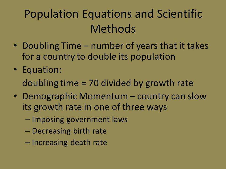 Population Equations and Scientific Methods