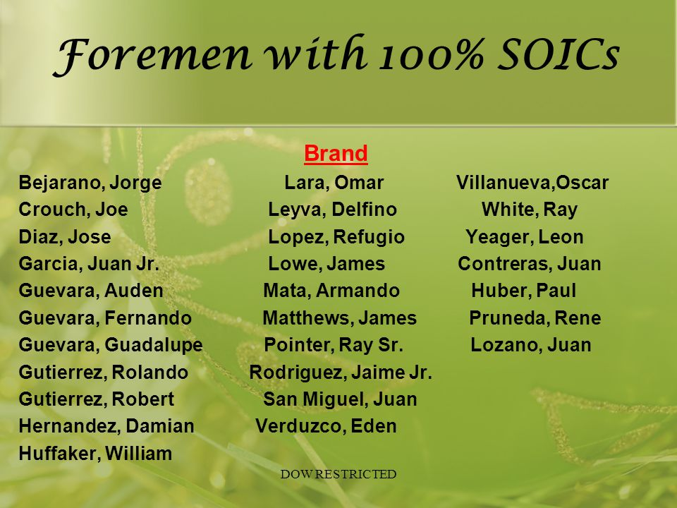 Foremen with 100% SOICs Brand
