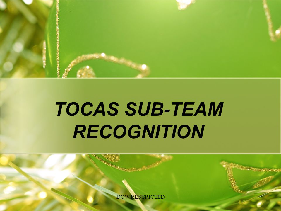 TOCAS SUB-TEAM RECOGNITION