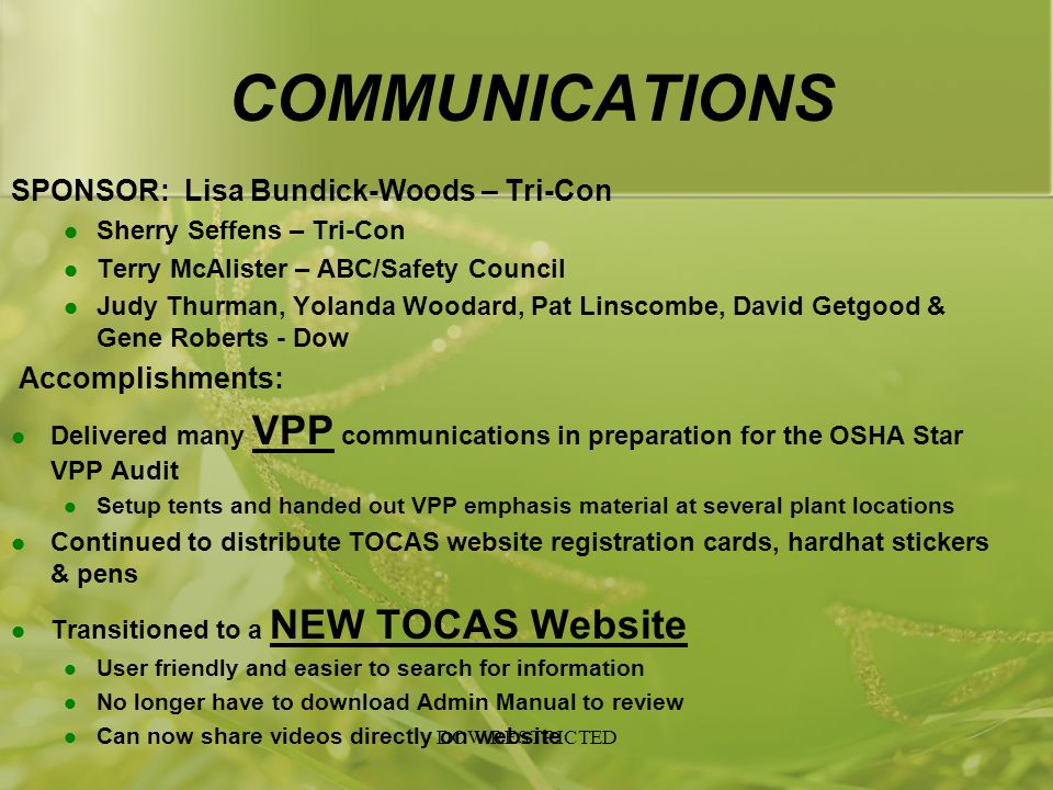 COMMUNICATIONS SPONSOR: Lisa Bundick-Woods – Tri-Con Accomplishments:
