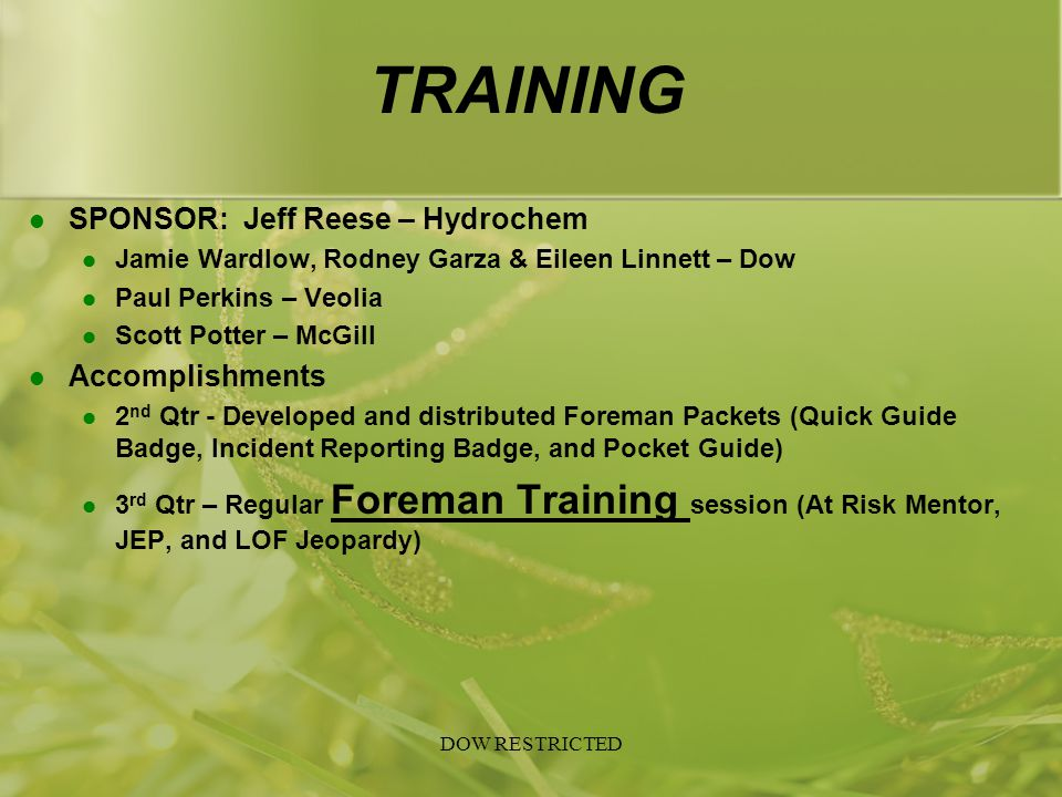 TRAINING SPONSOR: Jeff Reese – Hydrochem Accomplishments
