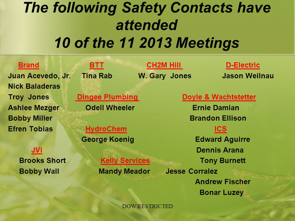 The following Safety Contacts have attended 10 of the 11 2013 Meetings