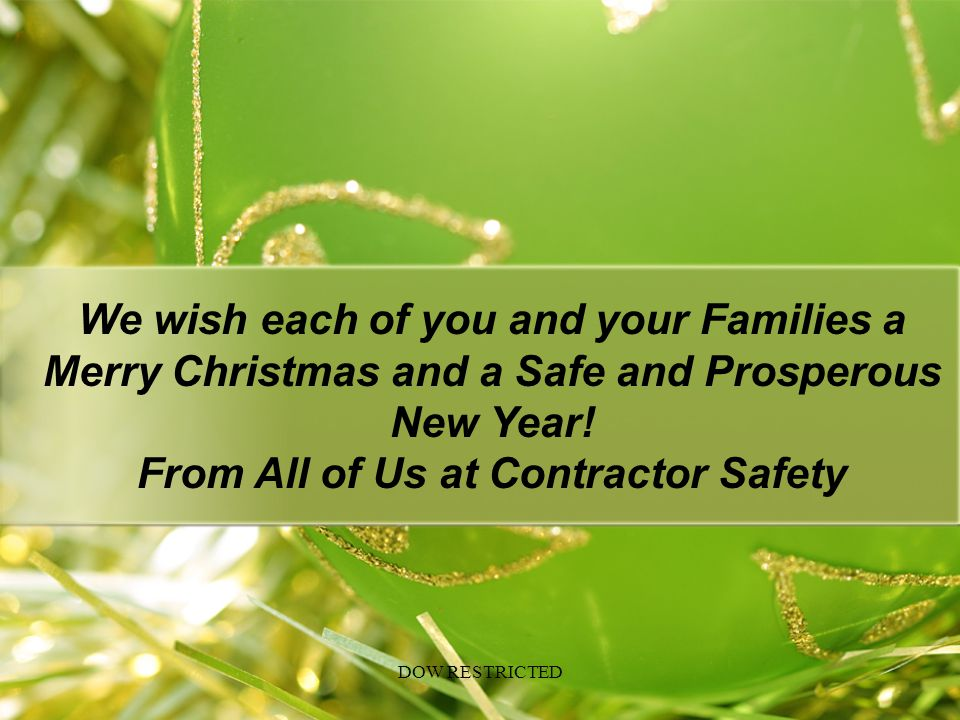 From All of Us at Contractor Safety