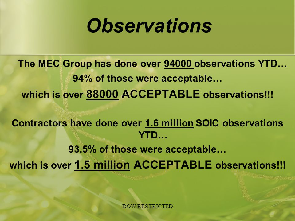 Observations The MEC Group has done over 94000 observations YTD…