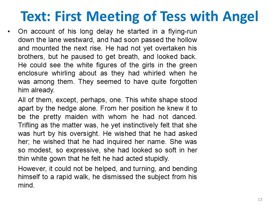 Text: First Meeting of Tess with Angel