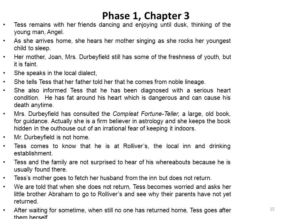 Phase 1, Chapter 3 Tess remains with her friends dancing and enjoying until dusk, thinking of the young man, Angel.