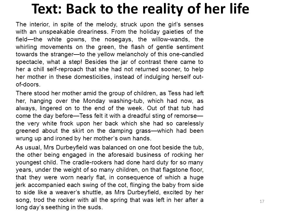Text: Back to the reality of her life