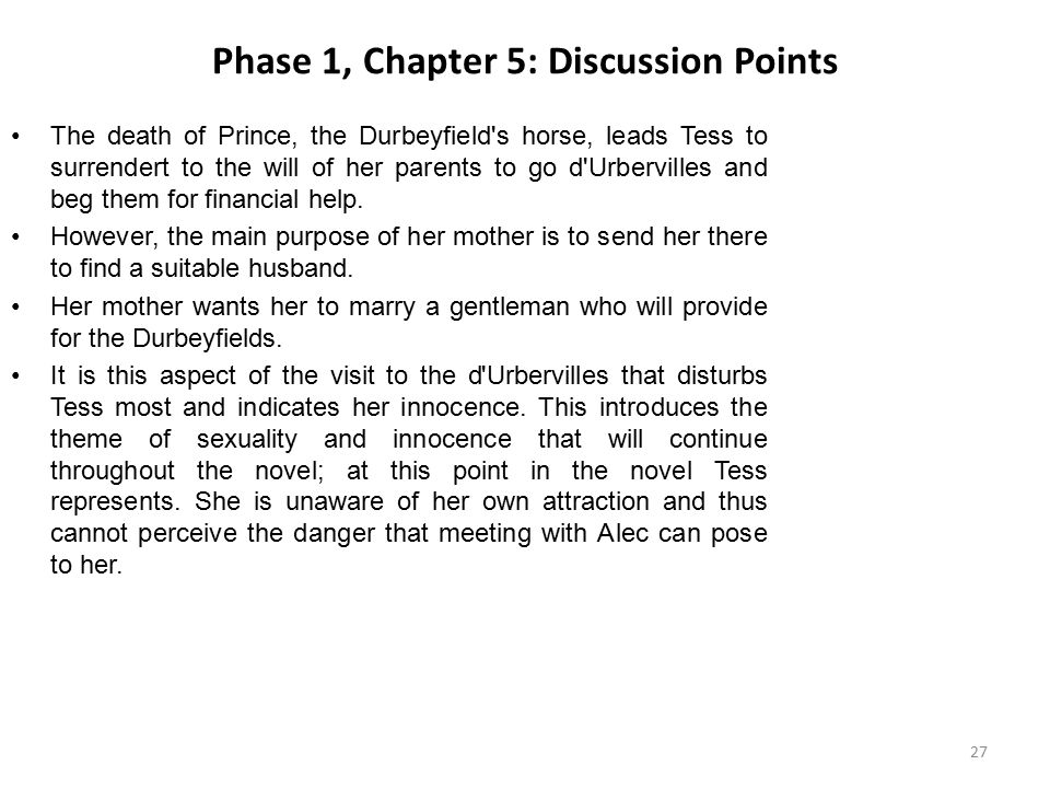 Phase 1, Chapter 5: Discussion Points