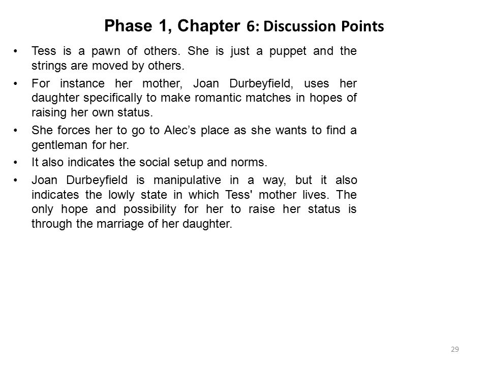 Phase 1, Chapter 6: Discussion Points