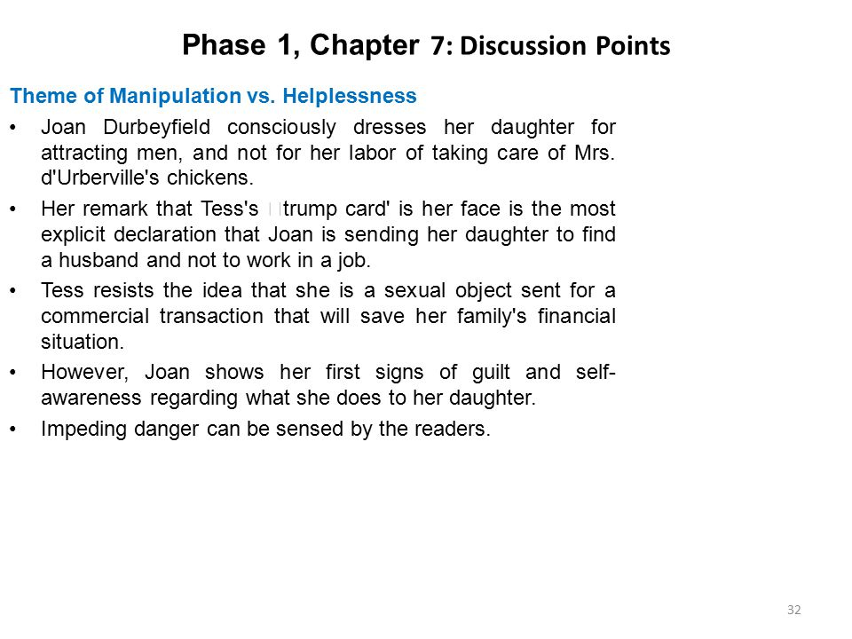 Phase 1, Chapter 7: Discussion Points