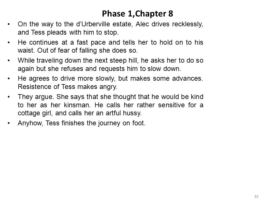 Phase 1,Chapter 8 On the way to the d'Urberville estate, Alec drives recklessly, and Tess pleads with him to stop.
