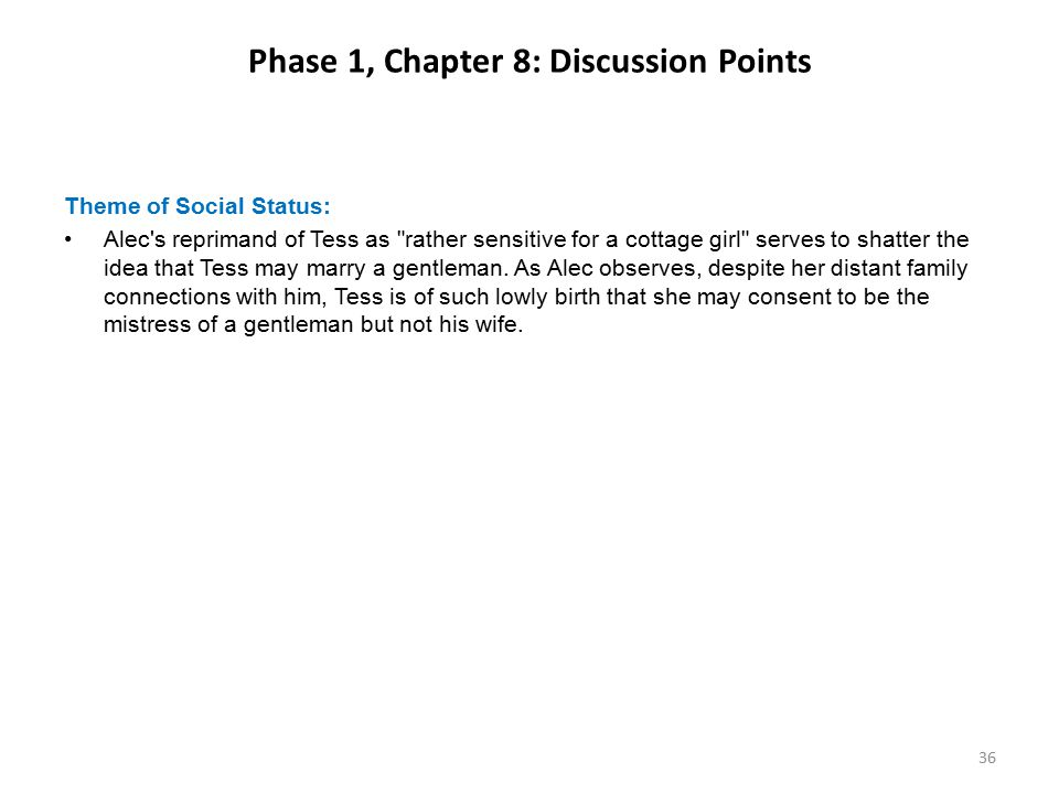 Phase 1, Chapter 8: Discussion Points