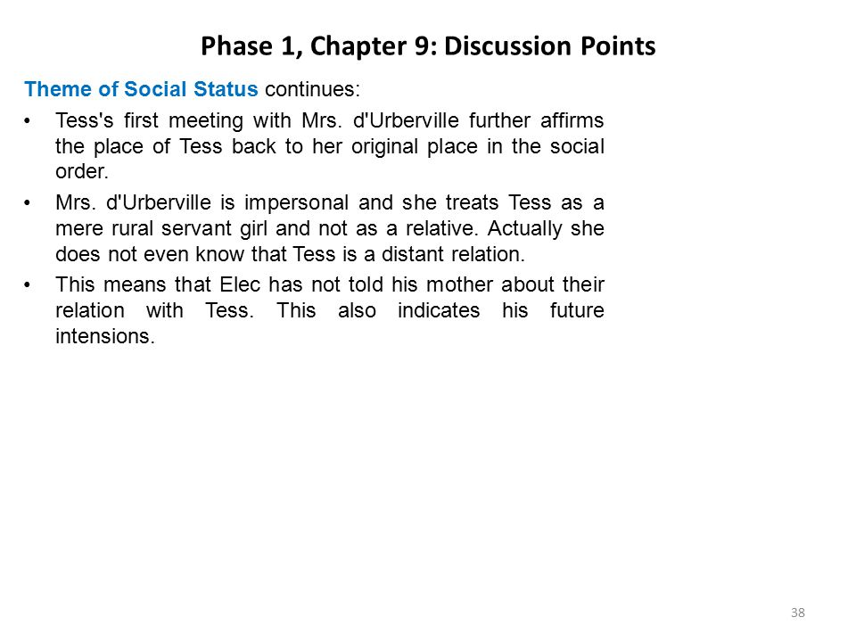 Phase 1, Chapter 9: Discussion Points