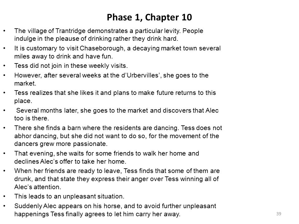 Phase 1, Chapter 10 The village of Trantridge demonstrates a particular levity. People indulge in the pleause of drinking rather they drink hard.