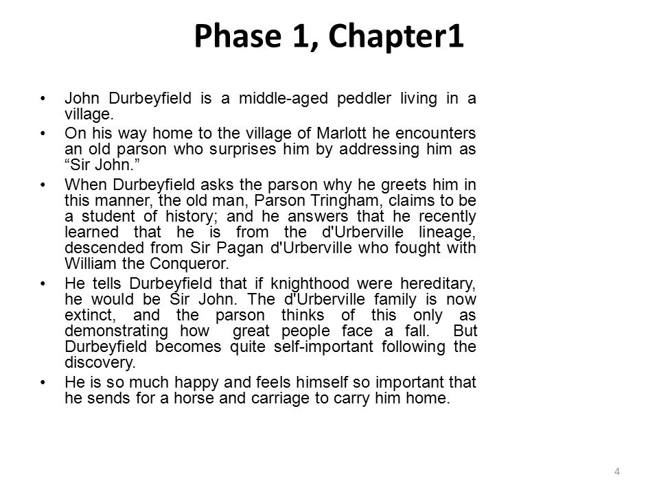 Phase 1, Chapter1 John Durbeyfield is a middle-aged peddler living in a village.