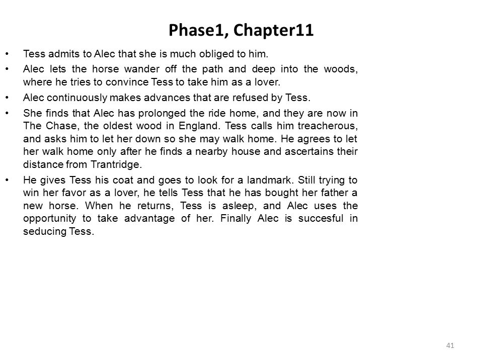 Phase1, Chapter11 Tess admits to Alec that she is much obliged to him.