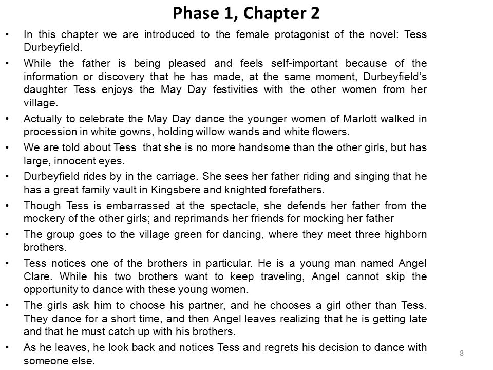 Phase 1, Chapter 2 In this chapter we are introduced to the female protagonist of the novel: Tess Durbeyfield.