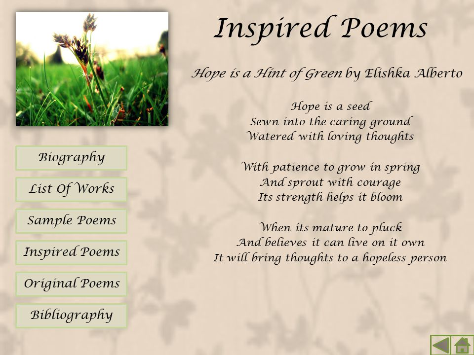Inspired Poems Hope is a Hint of Green by Elishka Alberto Biography