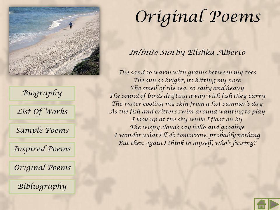 Original Poems Infinite Sun by Elishka Alberto Biography List Of Works