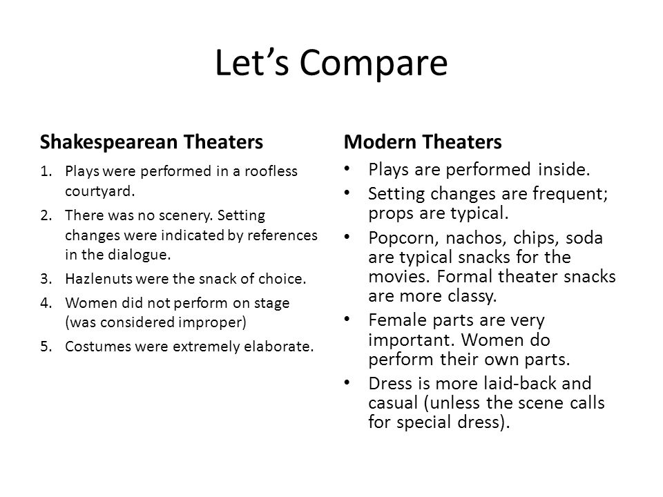Let's Compare Shakespearean Theaters Modern Theaters