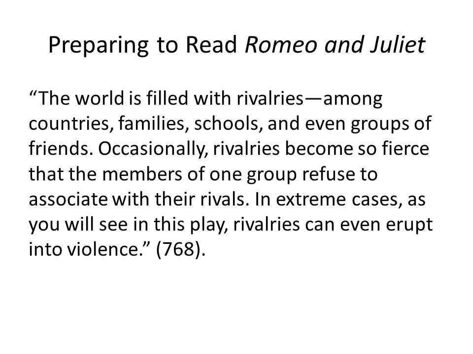 Preparing to Read Romeo and Juliet