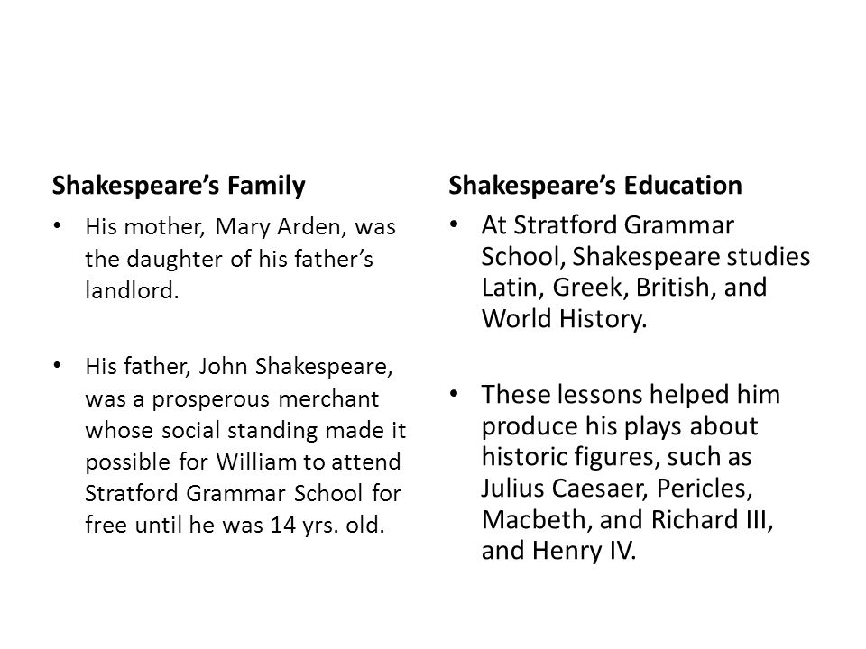 Shakespeare's Education