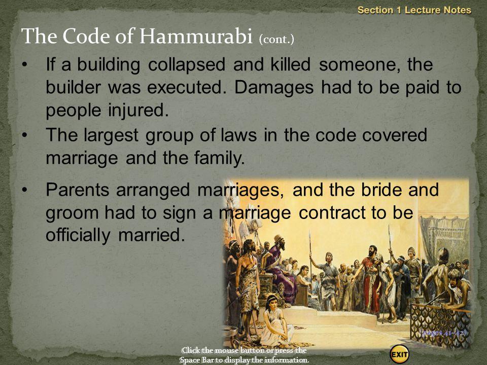 The Code of Hammurabi (cont.)