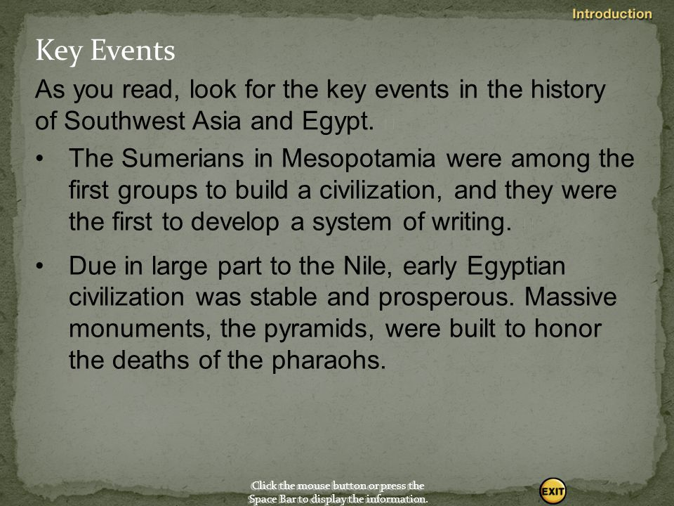 Key Events As you read, look for the key events in the history of Southwest Asia and Egypt. 
