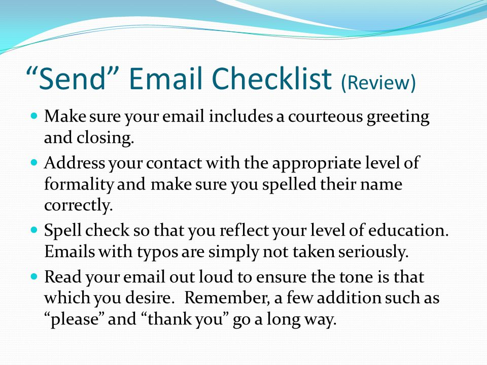 Send Email Checklist (Review)