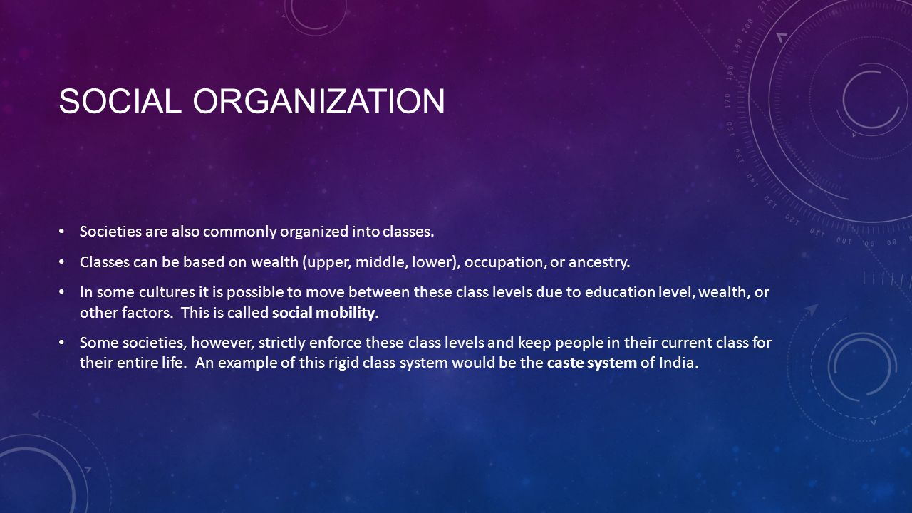 Social Organization Societies are also commonly organized into classes.