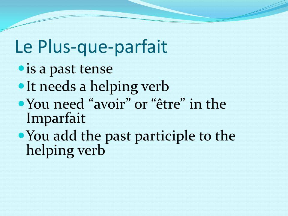 Le Plus-que-parfait is a past tense It needs a helping verb