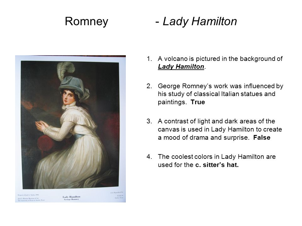 Romney - Lady Hamilton A volcano is pictured in the background of Lady Hamilton.