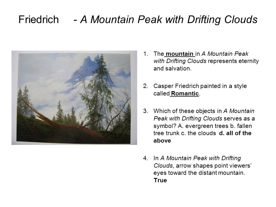 Friedrich - A Mountain Peak with Drifting Clouds