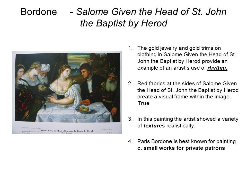 Bordone - Salome Given the Head of St. John the Baptist by Herod