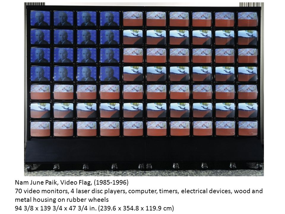 Nam June Paik, Video Flag, (1985-1996) 70 video monitors, 4 laser disc players, computer, timers, electrical devices, wood and metal housing on rubber wheels 94 3/8 x 139 3/4 x 47 3/4 in.