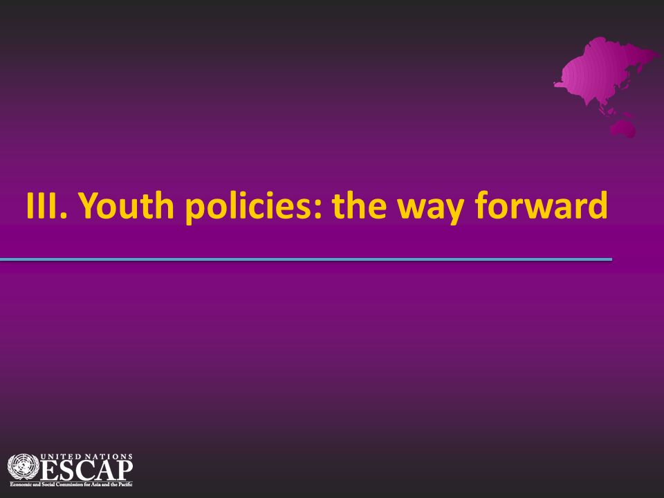 III. Youth policies: the way forward