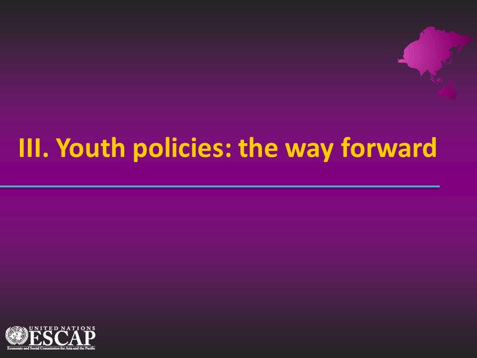 III. Youth policies: the way forward