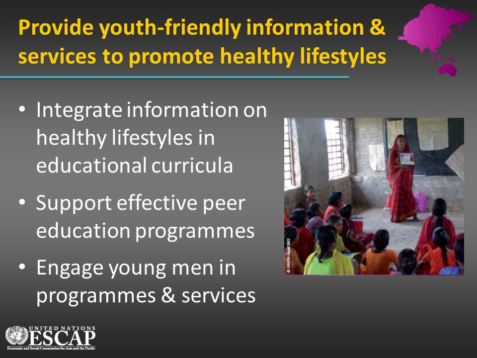 Provide youth-friendly information & services to promote healthy lifestyles