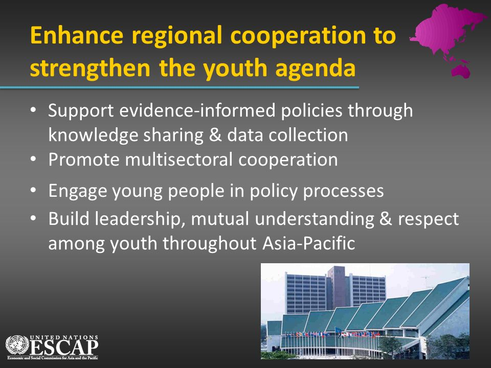 Enhance regional cooperation to strengthen the youth agenda