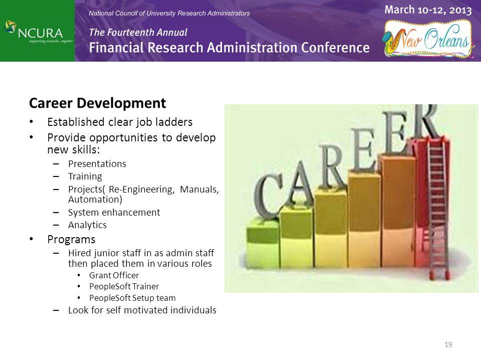 Career Development Established clear job ladders