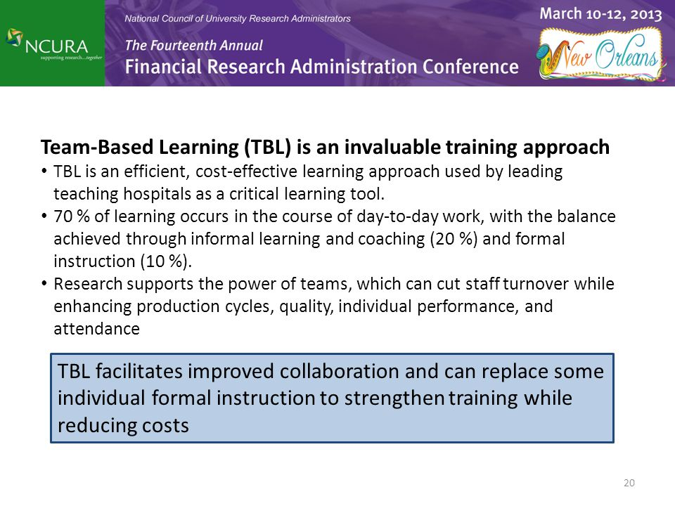 Team-Based Learning (TBL) is an invaluable training approach