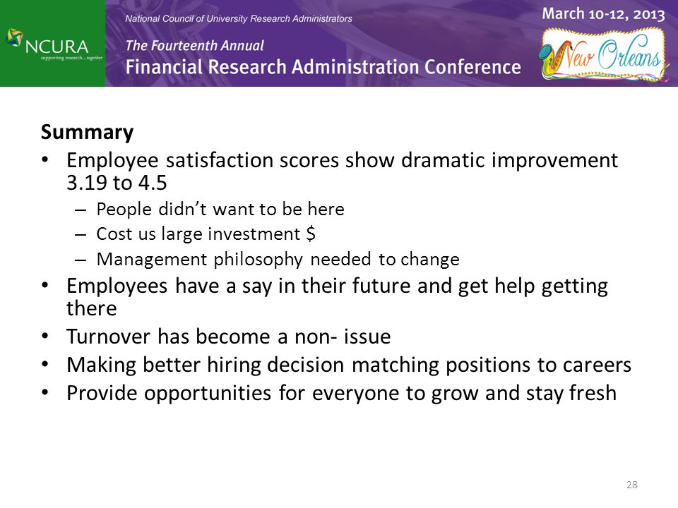 Employee satisfaction scores show dramatic improvement 3.19 to 4.5