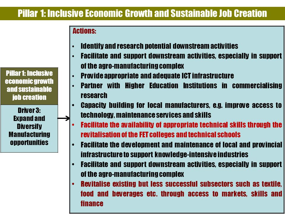 Pillar 1: Inclusive Economic Growth and Sustainable Job Creation