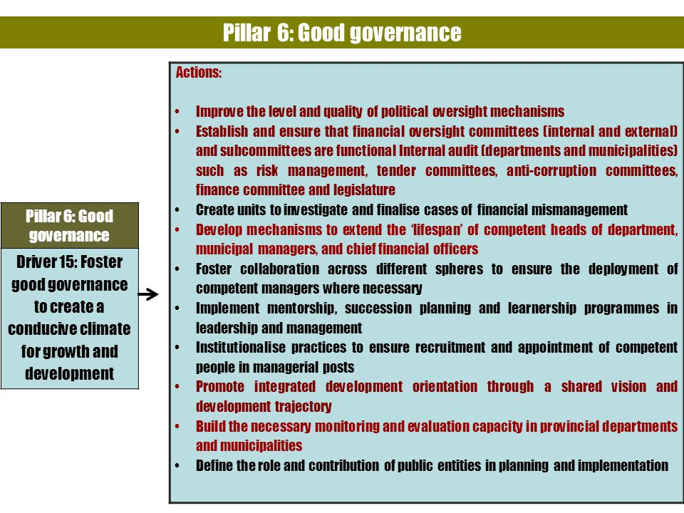Pillar 6: Good governance