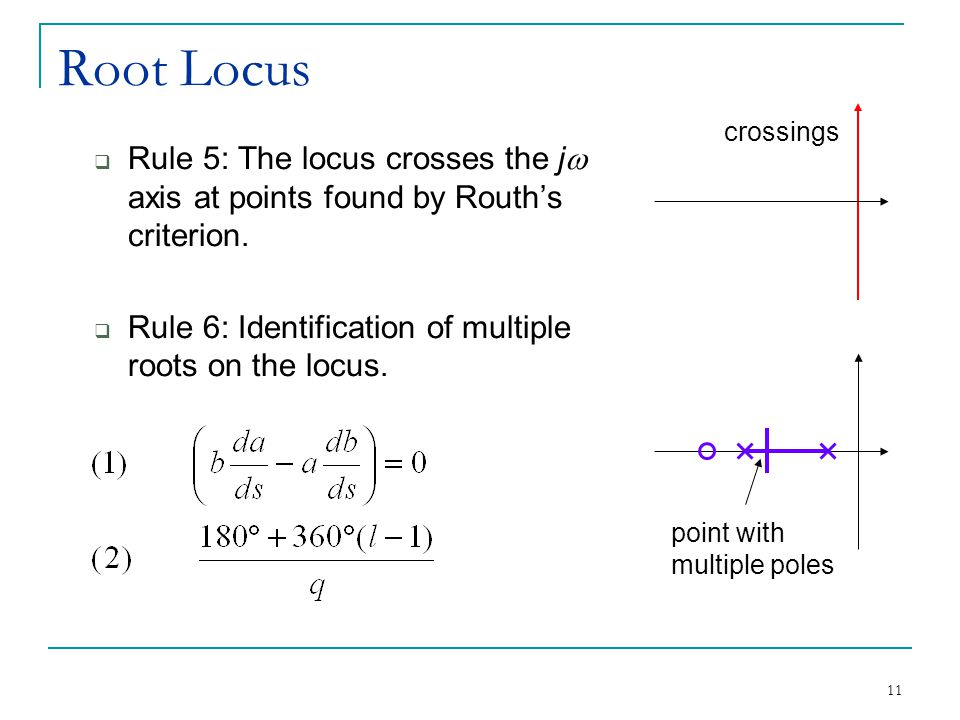 Root Locus crossings. Rule 5: The locus crosses the jw axis at points found by Routh's criterion.