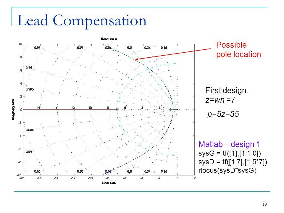 Lead Compensation Possible pole location First design: z=wn =7 p=5z=35