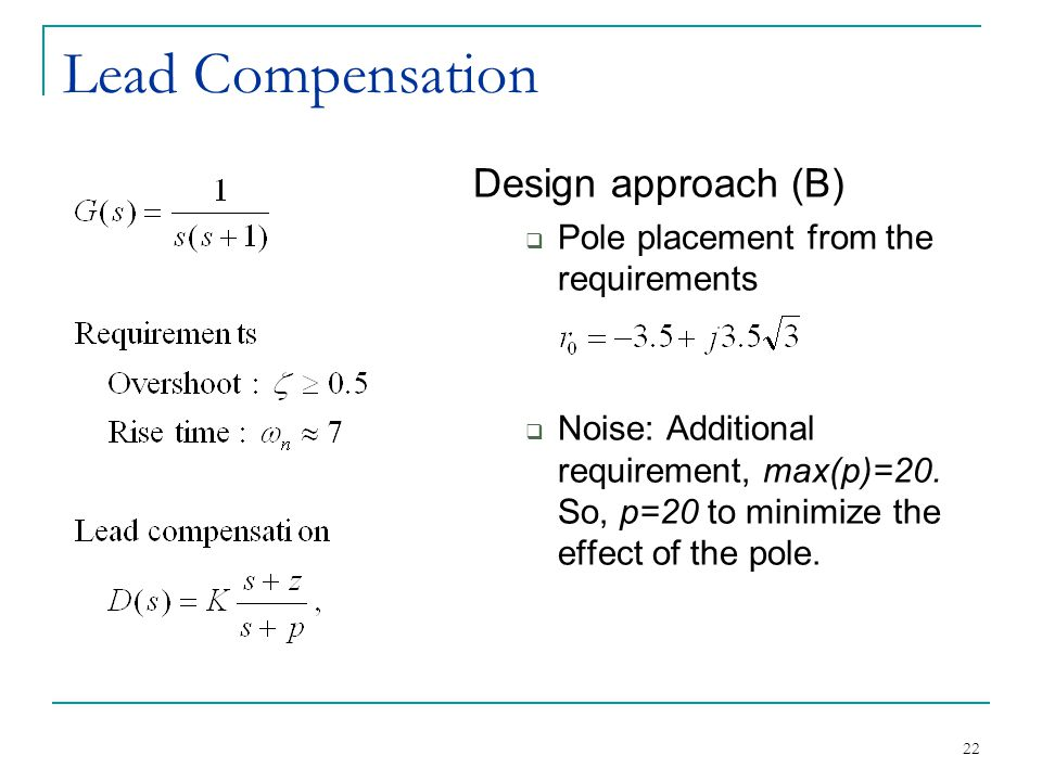 Lead Compensation Design approach (B)