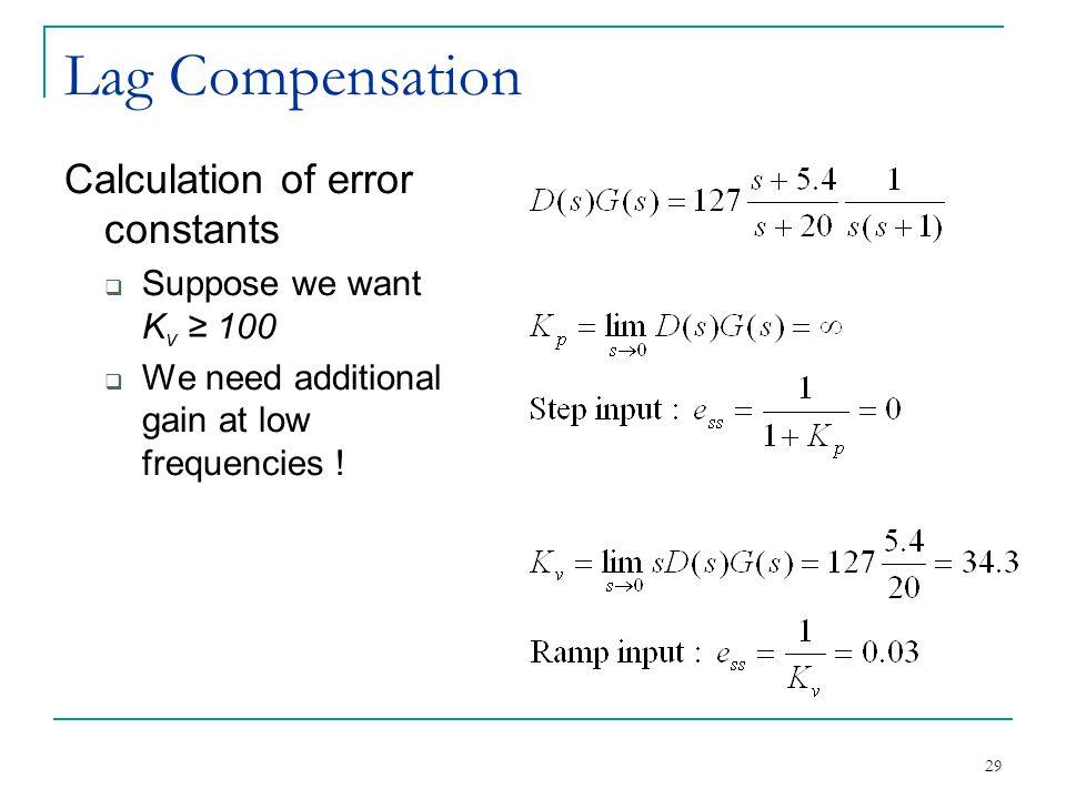 Lag Compensation Calculation of error constants
